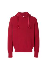 Sweat à capuche en tricot rouge Maison Margiela