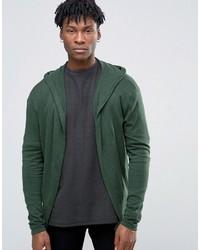 Sweat à capuche en tricot vert foncé Asos