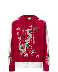 Sweat à capuche en velours brodé rouge Gucci