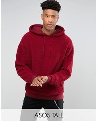 Sweat à capuche en velours rouge Asos