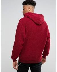 Sweat à capuche en velours rouge Asos