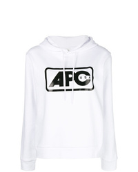 Sweat à capuche imprimé blanc et noir A.P.C.