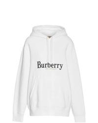 Sweat à capuche imprimé blanc et noir Burberry