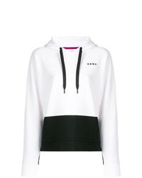 Sweat à capuche imprimé blanc et noir DKNY