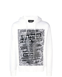 Sweat à capuche imprimé blanc et noir DSQUARED2