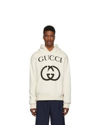 Sweat à capuche imprimé blanc et noir Gucci
