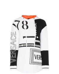 Sweat à capuche imprimé blanc et noir Versace