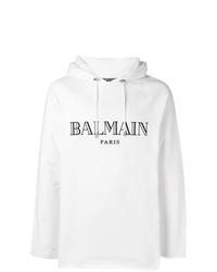 Sweat à capuche imprimé blanc Balmain
