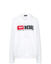 Sweat à capuche imprimé blanc Diesel