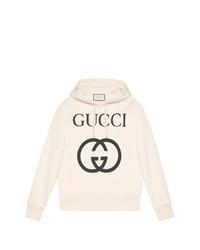Sweat à capuche imprimé blanc Gucci