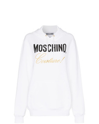 Sweat à capuche imprimé blanc Moschino