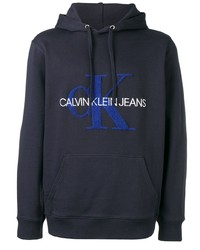 Sweat à capuche imprimé bleu marine Calvin Klein Jeans