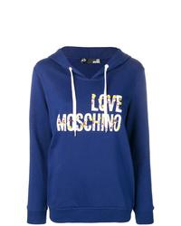 Sweat à capuche imprimé bleu marine Love Moschino
