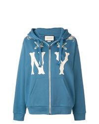 Sweat à capuche imprimé bleu Gucci