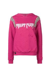 Sweat à capuche imprimé fuchsia Philipp Plein