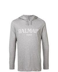 Sweat à capuche imprimé gris Balmain