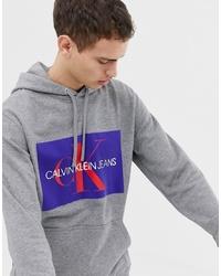 Sweat à capuche imprimé gris Calvin Klein Jeans