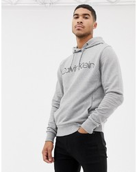 Sweat à capuche imprimé gris Calvin Klein