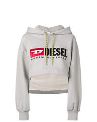 Sweat à capuche imprimé gris Diesel
