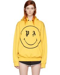 Sweat à capuche imprimé jaune