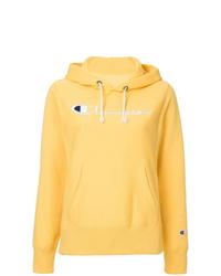 Sweat à capuche imprimé jaune Champion