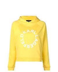 Sweat à capuche imprimé jaune Karl Lagerfeld