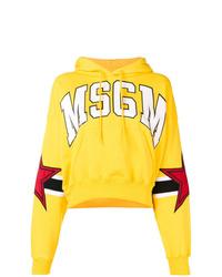 Sweat à capuche imprimé jaune MSGM
