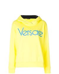 Sweat à capuche imprimé jaune Versace