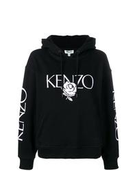 Sweat à capuche imprimé noir et blanc Kenzo