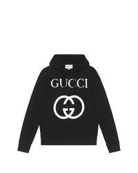 Sweat à capuche imprimé noir Gucci