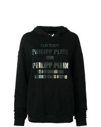 Sweat à capuche imprimé noir Philipp Plein