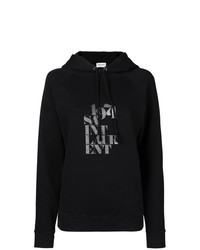 Sweat à capuche imprimé noir Saint Laurent