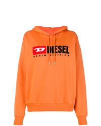 Sweat à capuche imprimé orange Diesel