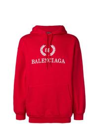 Sweat à capuche imprimé rouge Balenciaga