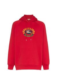 Sweat à capuche imprimé rouge Burberry