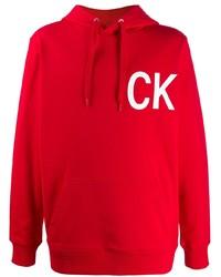Sweat à capuche imprimé rouge Calvin Klein Jeans