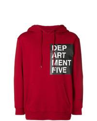 Sweat à capuche imprimé rouge Department 5