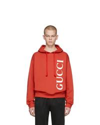 Sweat à capuche imprimé rouge Gucci