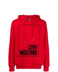 Sweat à capuche imprimé rouge Love Moschino