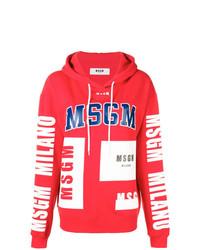 Sweat à capuche imprimé rouge MSGM