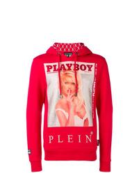 Sweat à capuche imprimé rouge Philipp Plein