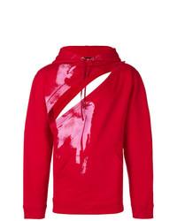 Sweat à capuche imprimé rouge Raf Simons