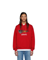 Sweat à capuche imprimé rouge Versace