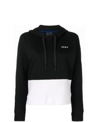Sweat à capuche noir et blanc DKNY