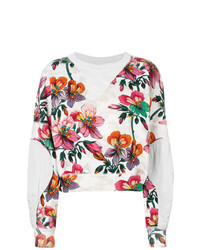 Sweat-shirt à fleurs blanc Isabel Marant