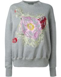 Sweat-shirt à fleurs gris Alexander McQueen