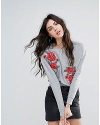 Sweat-shirt à fleurs gris Brave Soul
