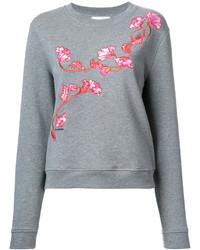 Sweat-shirt à fleurs gris Carven