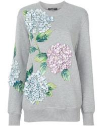 Sweat-shirt à fleurs gris Dolce & Gabbana