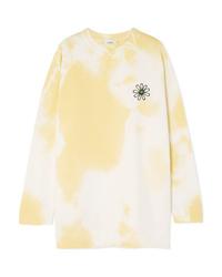 Sweat-shirt à fleurs jaune Ganni